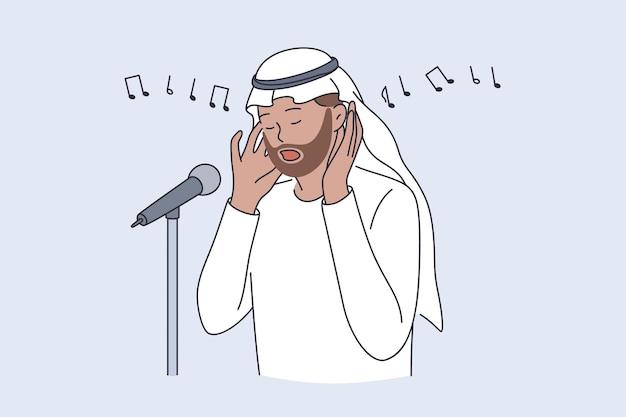 Muezzin en islamitisch cultuurconcept. man persoon voordrager die oproept tot bidden of adhan zingt religieuze lied vectorillustratie
