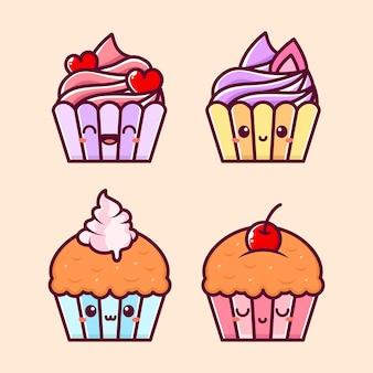 Muffin en cupcake in schattige stijl