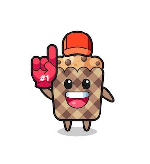 Muffin illustratie cartoon met nummer 1 fans handschoen, schattig design