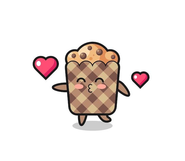 Muffin karakter cartoon met kussend gebaar, schattig ontwerp