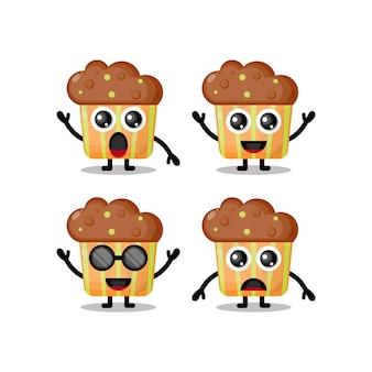 Muffin mascotte karakter schattig