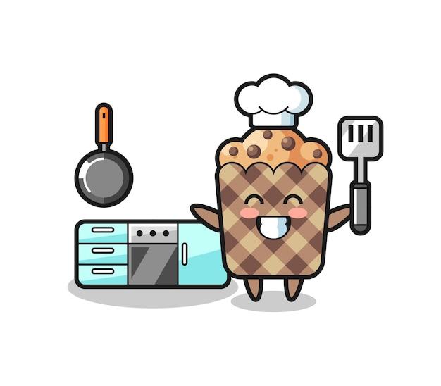 Muffinkarakterillustratie terwijl een chef-kok kookt, schattig ontwerp