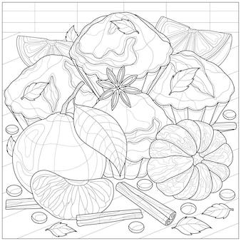 Muffins met mandarijn, kaneel en anijs. kleurboek anti-stressprogramma voor kinderen en volwassenen. zen-wirwar stijl. zwart-wit tekening