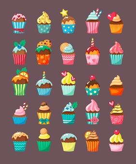 Muffins met topping in kartonnen dozen vlakke afbeelding set. gearomatiseerde banketbakkersproducten. cupcakes met room en glazuur.
