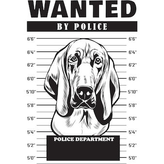 Mugshot van blood hound dog met spandoek achter de tralies