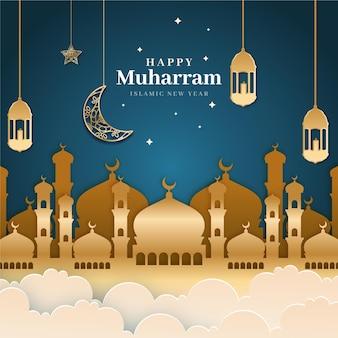 Muharram-illustratie in papierstijl