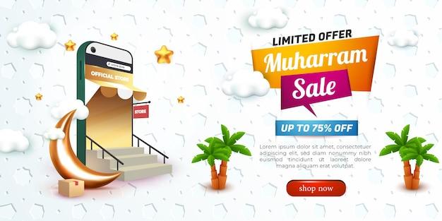 Muharram-verkoop met 3d-podium en islamitisch patroon voor sjabloonflyer voor sociale media