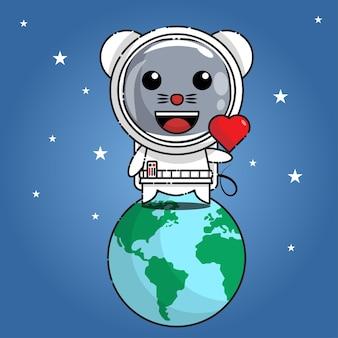 Muis in astronautenkostuum die zich op aarde bevindt