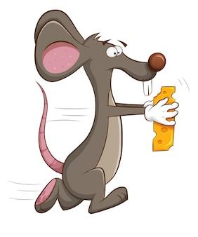Muis loopt weg met stuk kaas in zijn handen.