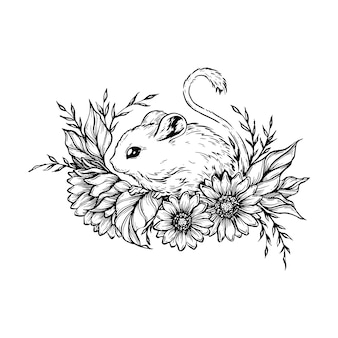 Muis met bloemen.