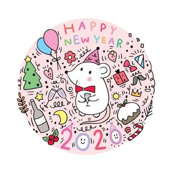 Muizenviering van het beeldverhaal de leuke nieuwe jaar.