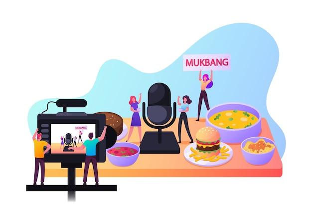 Mukbang-concept. kleine mannelijke en vrouwelijke personages eten en proeven van voedsel op videocamera voor sociale media-vlog, programma-uitzending, degustatie van maaltijden op internet. cartoon mensen vectorillustratie