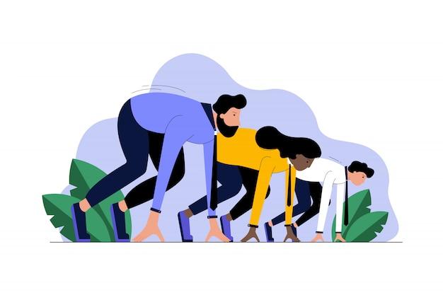 Multi-etnisch bedrijf, het opstarten van sport, het concept van de motivatiecompetitie.