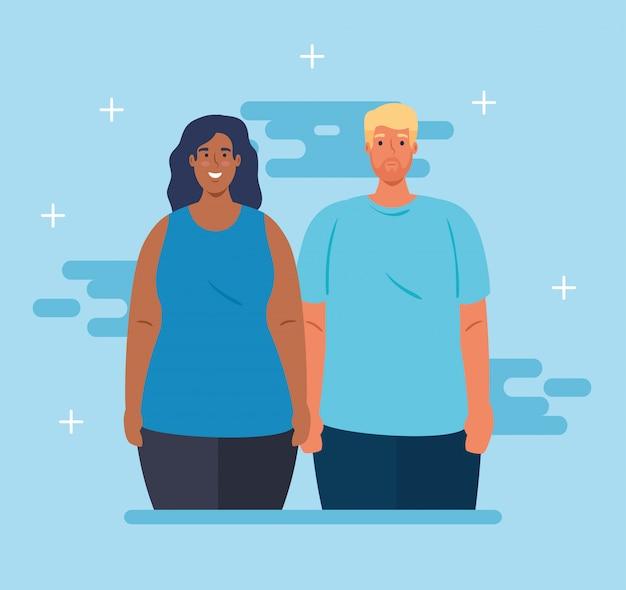 Multi-etnisch paar, culturele en diversiteit conceptontwerp vector illustratie