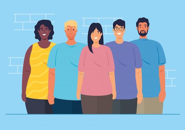 Multi-etnische groep mensen samen, diversiteit van vrouwen en mannen en multiculturalisme concept