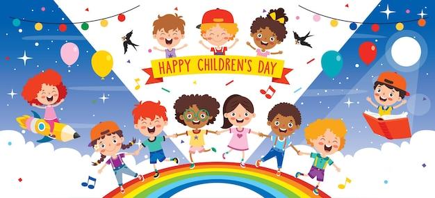 Multi-etnische kinderen spelen op regenboog