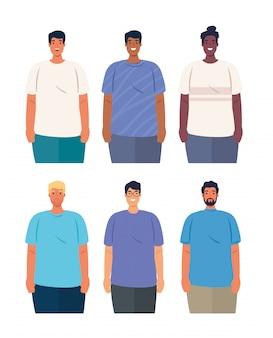 Multi-etnische mannen groeperen zich, diversiteit en multiculturalisme concept