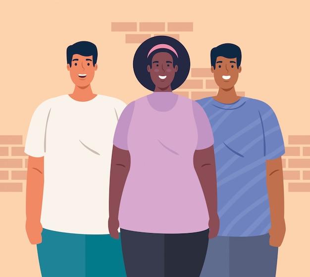 Multi-etnische mensen samen, vrouw en mannen, diversiteit en multiculturalisme concept
