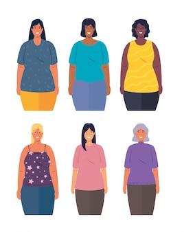 Multi-etnische vrouwen samen, diversiteit en multiculturalisme concept