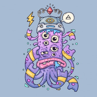 Multi-eyed cartoon monster. grappig wezen. cartoon vectorillustratie