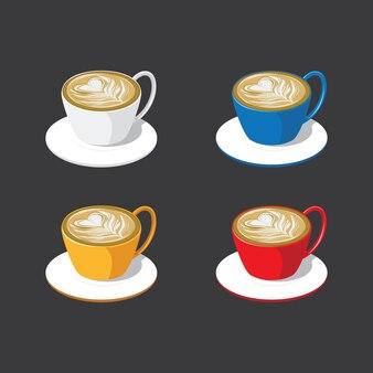 Multi gekleurde cappuccino koffiemokken op zwarte achtergrond