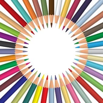 Multi kleurpotloden rond gemaakte cirkel met copyspace