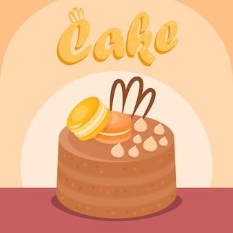 Multi layer cake flat vector social media banner