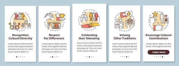 Multi raciale empowerment onboarding mobiele app paginascherm met concepten. multiculturele eenheid walkthrough 5 stappen grafische instructies. ui-vectorsjabloon met rgb-kleurenillustraties