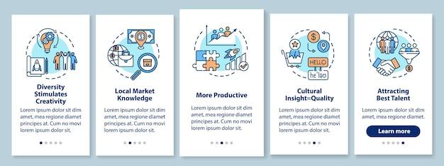 Multi-raciale team onboarding mobiele app paginascherm met concepten. effectieve bedrijfsontwikkeling in 5 stappen grafische instructies. ui-vectorsjabloon met rgb-kleurenillustraties