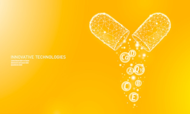 Multi-vitaminecomplex laag poly capsule. gezondheidssupplement huidverzorging bodybuilding anti-aging apotheek-sjabloon voor spandoek. 3d co-enzym q10, a, b, c, d. geneeskunde wetenschap illustratie