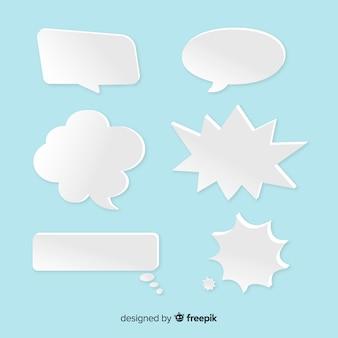 Multi-vormige tekstballonnen in papierstijl