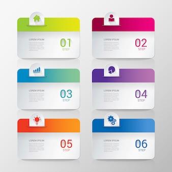 Multicolor afgeronde rechthoek achtergronden zes stap item infographics sjabloon.