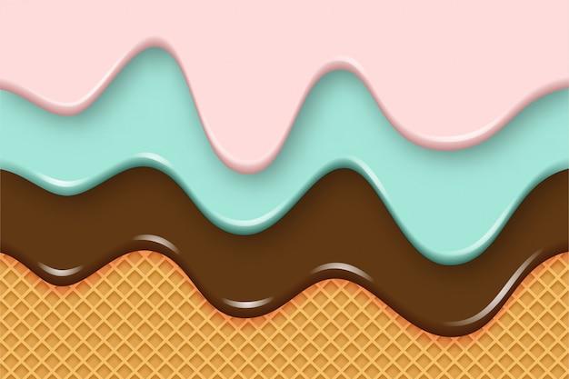 Multicolor ijs druipt