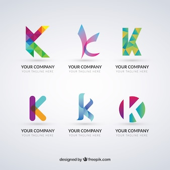 Multicolor letter k logo collectie