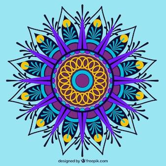 Multicolor mandala op blauwe achtergrond