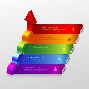 Multicolor pijl groeien stappen infographics sjabloon.