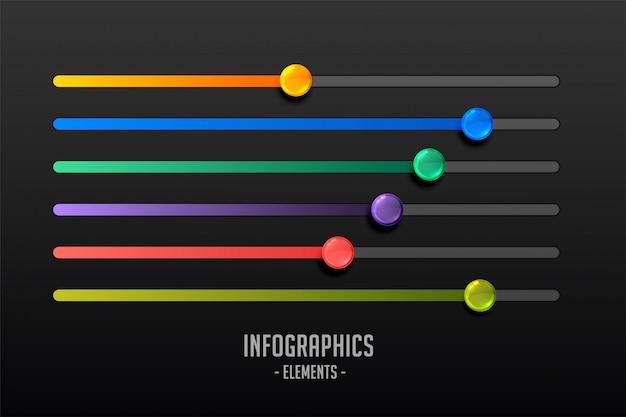 Multicolor stappen schuifregelaar concept infograph
