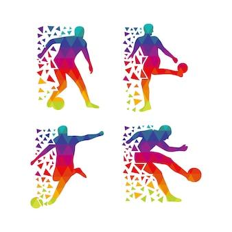 Multicolor voetballer silhouet