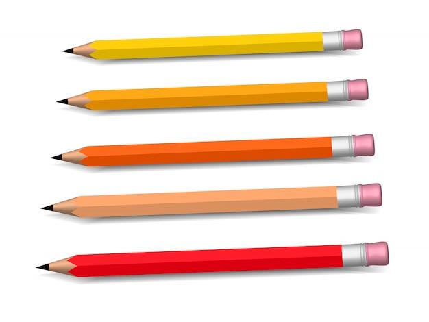 Multicolored potloden die geïsoleerde rij kweken