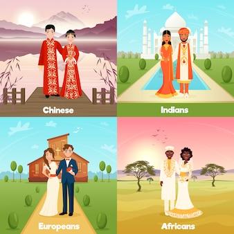 Multiculturele bruiloft koppels ontwerpconcept