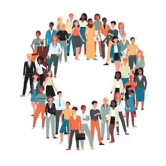 Multiculturele en multi-etnische menigte van mensen stripfiguren illustratie op witte achtergrond. menselijke diversiteit en raciale gelijkheid concept.