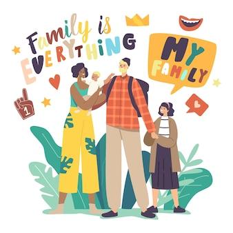 Multiculturele en multiraciale gelukkige familiekarakters kaukasische vader, afro-amerikaanse moeder en gemengde kinderen hand in hand. interraciale ouders en kinderen. cartoon mensen vectorillustratie