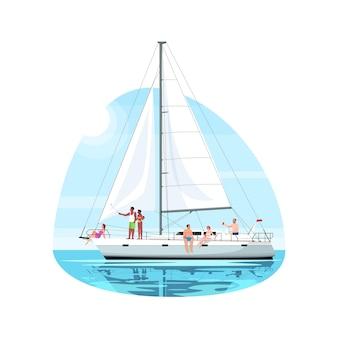 Multiculturele groep op regatta semi platte vectorillustratie. mensen rusten op de boot. reis op luxe schip. privé jacht voor reis. zomerrecreatie 2d-stripfiguren voor commercieel gebruik