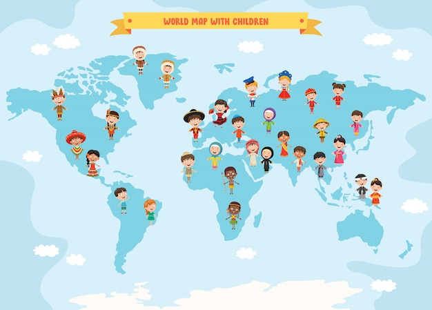 Multiculturele karakters van de wereld