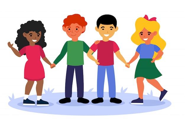 Multiculturele kinderen staan samen en houden elkaars hand vast