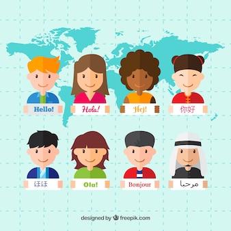 Multiculturele mensen die verschillende talen spreken met een plat ontwerp