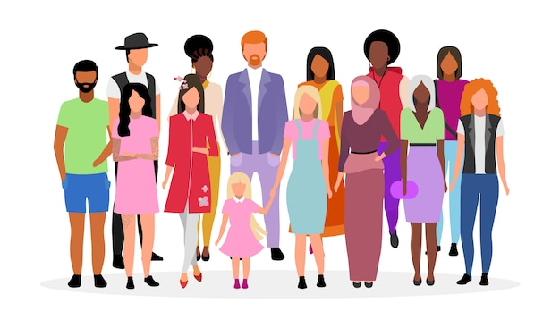 Multiculturele mensen groeperen vlakke afbeelding. verschillende nationaliteiten, rassen vrouwen en mannen stripfiguren. multiraciale blanke en afro-amerikaanse jongvolwassenen, diverse meisjes en jongens