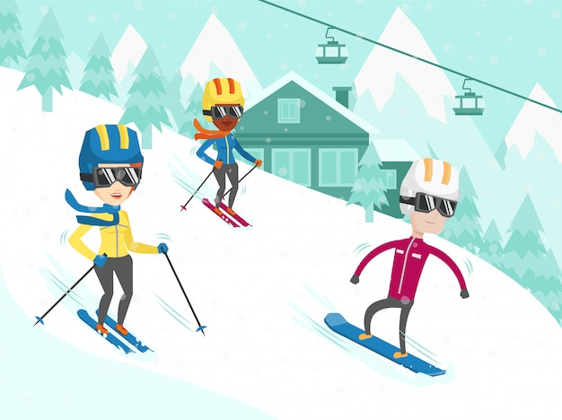 Multiculturele mensen skiën en snowboarden.