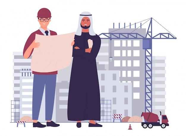 Multiculturele team civiel-ingenieurs bij vector de illustratieconcept van het bouwwerf vlak karakter