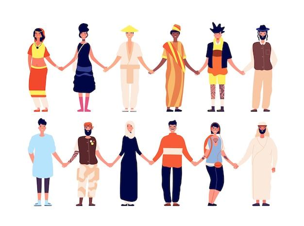 Multiculturele vriendschap. etnische groep mensen, vrienden die hand houden